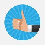 Flat Design Thumbs Up Background . Vector Illustration Royalty Free Stock Images