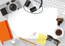Flat design top view creative desktop. Stock Image