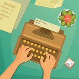 Flat design top view on desk concept Design Writing.  Stock Images
