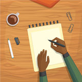Flat design top view on desk concept Design Writing.  Royalty Free Stock Photos