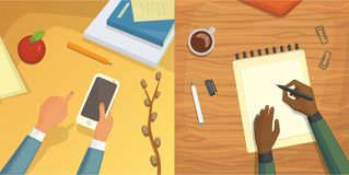 Flat design top view on desk concept Design, Writing on letter.. Flat design top view on desk concept Design, Writing on letter. Workplace Flat design Stock Image