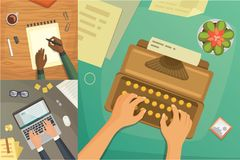Flat design top view on desk concept Design, Writing on letter. Workplace with typewriter. Flat design. blogging. Illustration Royalty Free Stock Photography