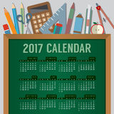Flat Design Top View Education Concept 2017 Printable Calendar Starts Sunday. Vector Illustration royalty free illustration