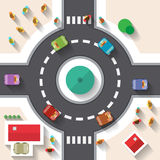Flat Design Top View Street Roundabout Stock Images