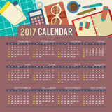 Flat Design Top View Workplace 2017 Printable Calendar Starts Sunday. Flat Design Top View Workplace 2017 Printable Calendar Starts Sunday Vector Illustration Stock Image