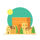 Flat design of Trajan's arch Italy with village Royalty Free Stock Photo