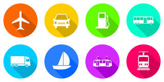 Flat design transportation icons Royalty Free Stock Images
