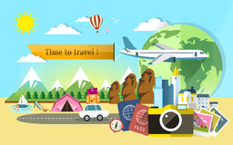 Flat design for travel around the world Royalty Free Stock Photo