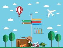 Flat design travel assets stock illustration