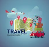 Flat design travel  banner background vector illustration Stock Image