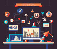 Flat design travel composition with world famous landmarks on  display Stock Image