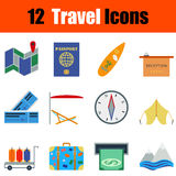 Flat design travel icon set. In ui colors. Vector illustration Stock Photography