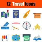 Flat design travel icon set Stock Photography