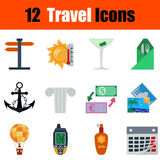 Flat design travel icon set. In ui colors. Vector illustration Stock Photos