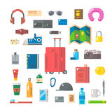 Flat design of travel items set Royalty Free Stock Images