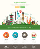Flat design travel website header banner with webdesign elements Royalty Free Stock Photography