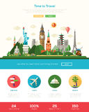 Flat design travel website header banner with webdesign elements Royalty Free Stock Images