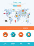 Flat design travel website header banner with webdesign elements Royalty Free Stock Photos