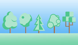 Flat design trees set Royalty Free Stock Images
