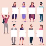 People holding blank white banner royalty free stock photos