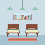 Flat Design Twin Beds Interior Stock Photo