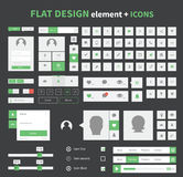 Flat design ui kit elements set with flat icons Stock Photo