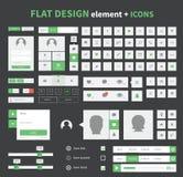 Flat design ui kit elements set with flat icons Stock Photo