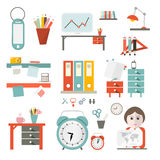 Flat Design UI Office Supply Vector Flat Design Illustration Stock Photos
