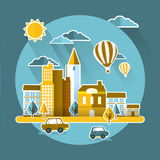 Flat design for urban landscape concept Royalty Free Stock Photo