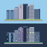 Flat design urban landscape day and night Royalty Free Stock Photos