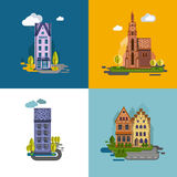 Flat design urban landscape. Royalty Free Stock Photos