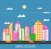 Flat design urban landscape Royalty Free Stock Images