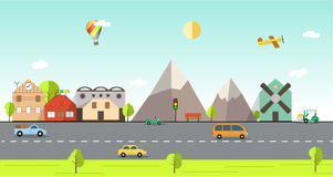 Flat design urban landscape illustration. Town with buildings, snowy mountains and mill. Plane and balloon in the sky. Bus, scooter, car and warehouse loader Stock Photos