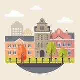 Flat Design Urban Landscape Illustration Stock Images