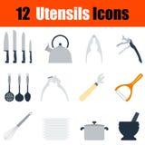 Flat design utensils icon set Royalty Free Stock Photos
