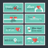 Flat design Valentines day greeting cards and banners Royalty Free Stock Photos