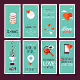 Flat design Valentines day greeting cards Royalty Free Stock Photos