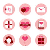 Flat design Valentines day icons set Stock Photo