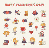 Flat design Valentines day love icons and romance elements Royalty Free Stock Photo