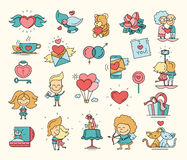 Flat design Valentines day love icons and romance elements Royalty Free Stock Photos