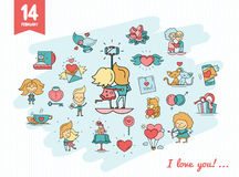 Flat design Valentines day love icons and romance elements Stock Images