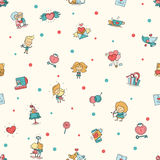 Flat design Valentines day love and romance icons pattern Royalty Free Stock Photography