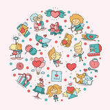 Flat design Valentines day love and romance icons postcard Stock Photos