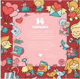 Flat design Valentines day love and romance icons postcard Royalty Free Stock Photo