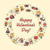 Flat design Valentines day love and romance icons postcard Royalty Free Stock Photography