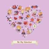 Flat design Valentines day love and romance icons postcard. Flat design vector Valentines day love and romance icons heart postcard Stock Image