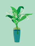Flat design. A valley lily in a vase. Vecto Stock Images