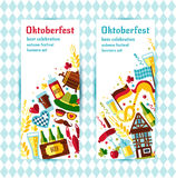 Flat design vector banners set with oktoberfest celebration. Flat design vector illustration with oktoberfest celebration symbols. Oktoberfest celebration Royalty Free Stock Images