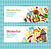 Flat design vector banners set with oktoberfest celebration  Stock Image