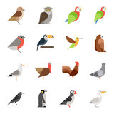 Flat design vector birds icon set Stock Photo